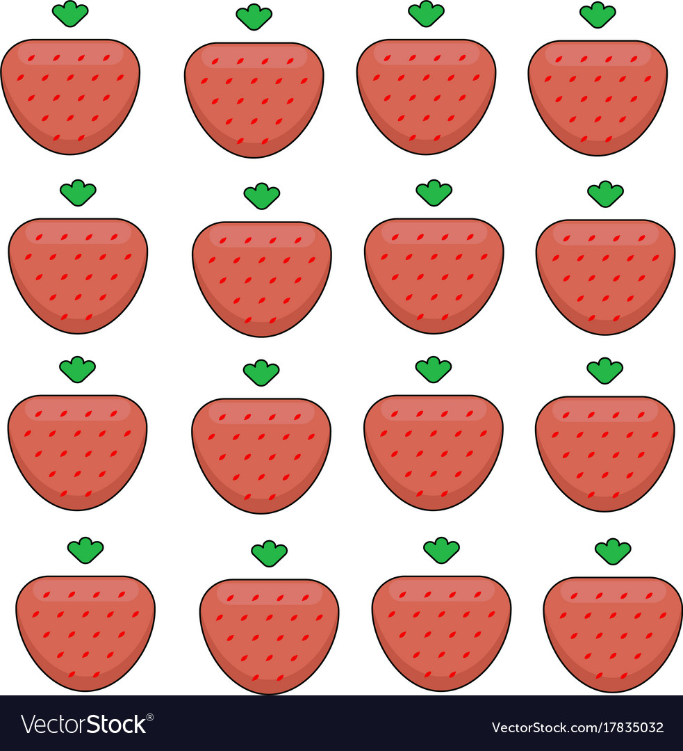 Pattern of ripe strawberries on a white background