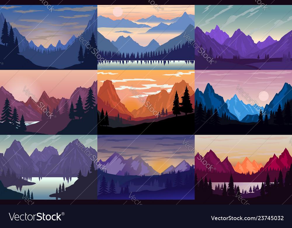 Set cartoon mountain landscapes design