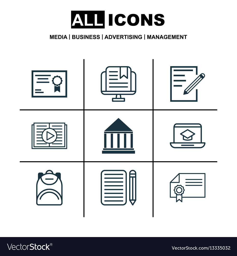 Set of 9 education icons includes home work