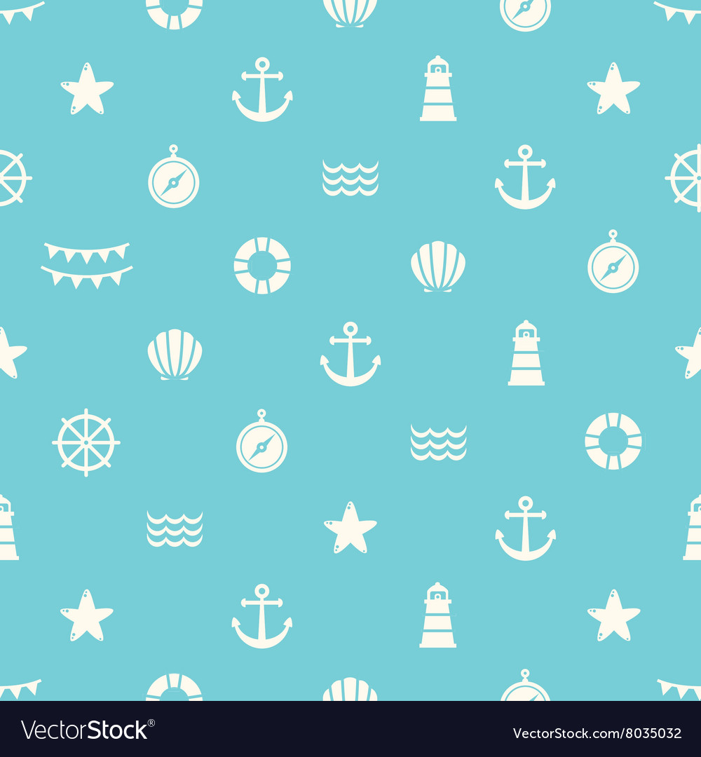 Simple seamless pattern with flat sea elements