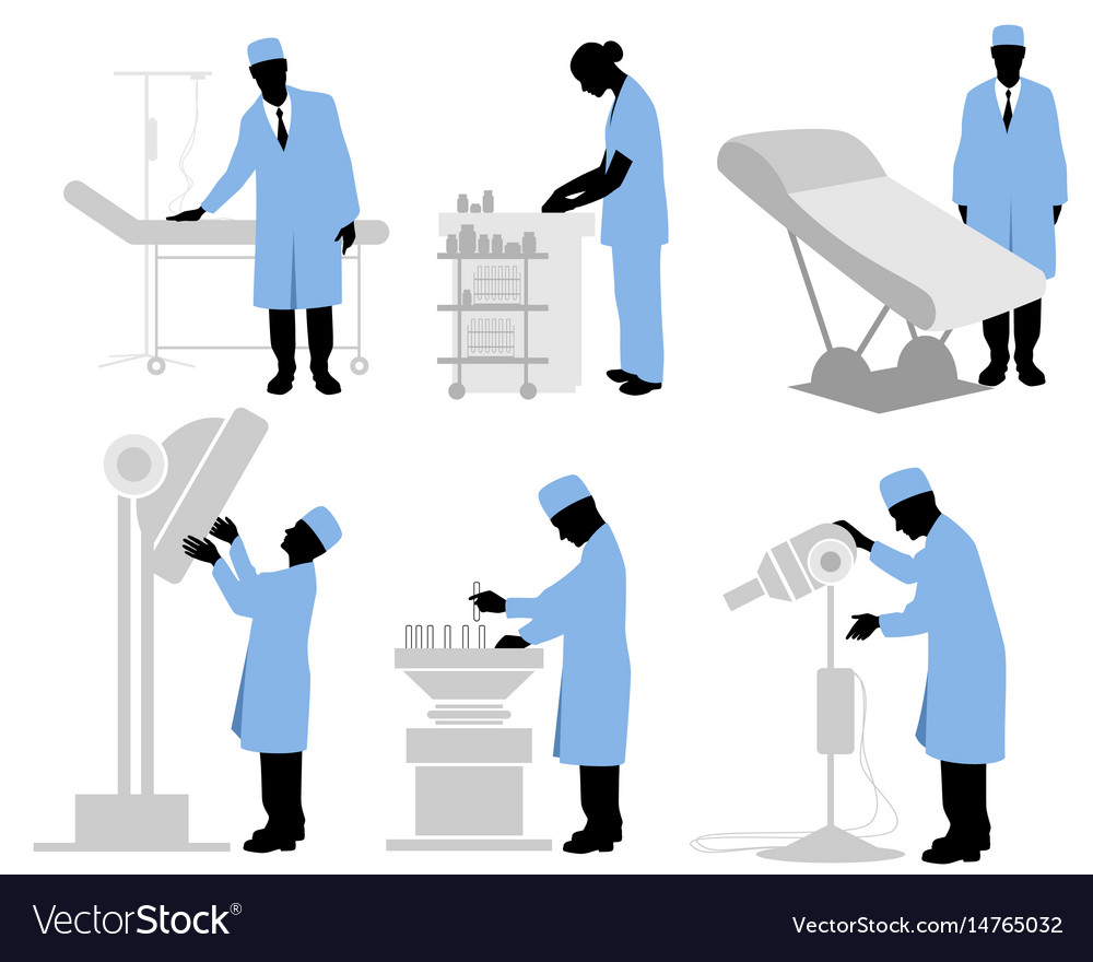 Six doctors set vector image