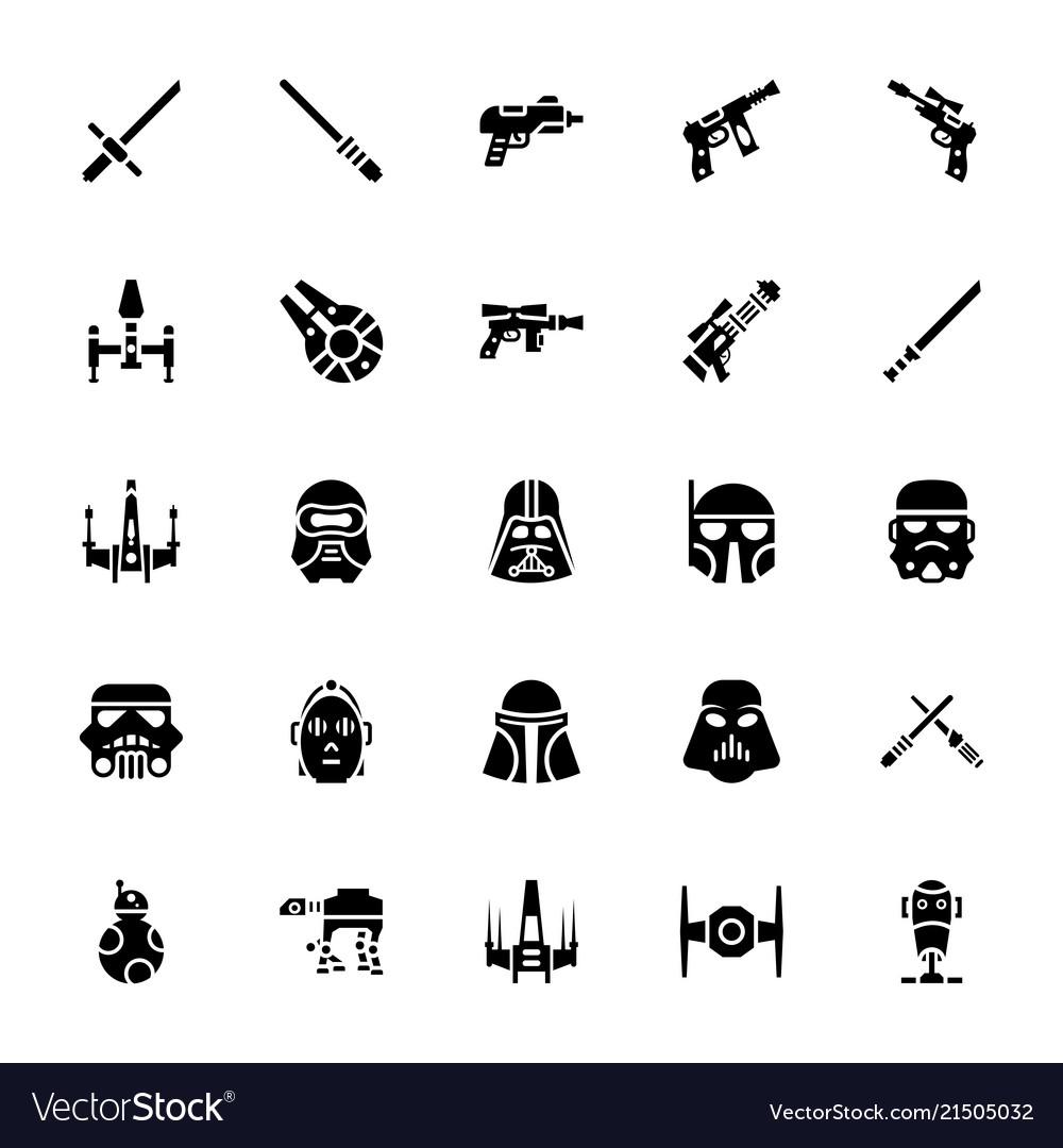 star wars glyph icons royalty free vector image  vectorstock