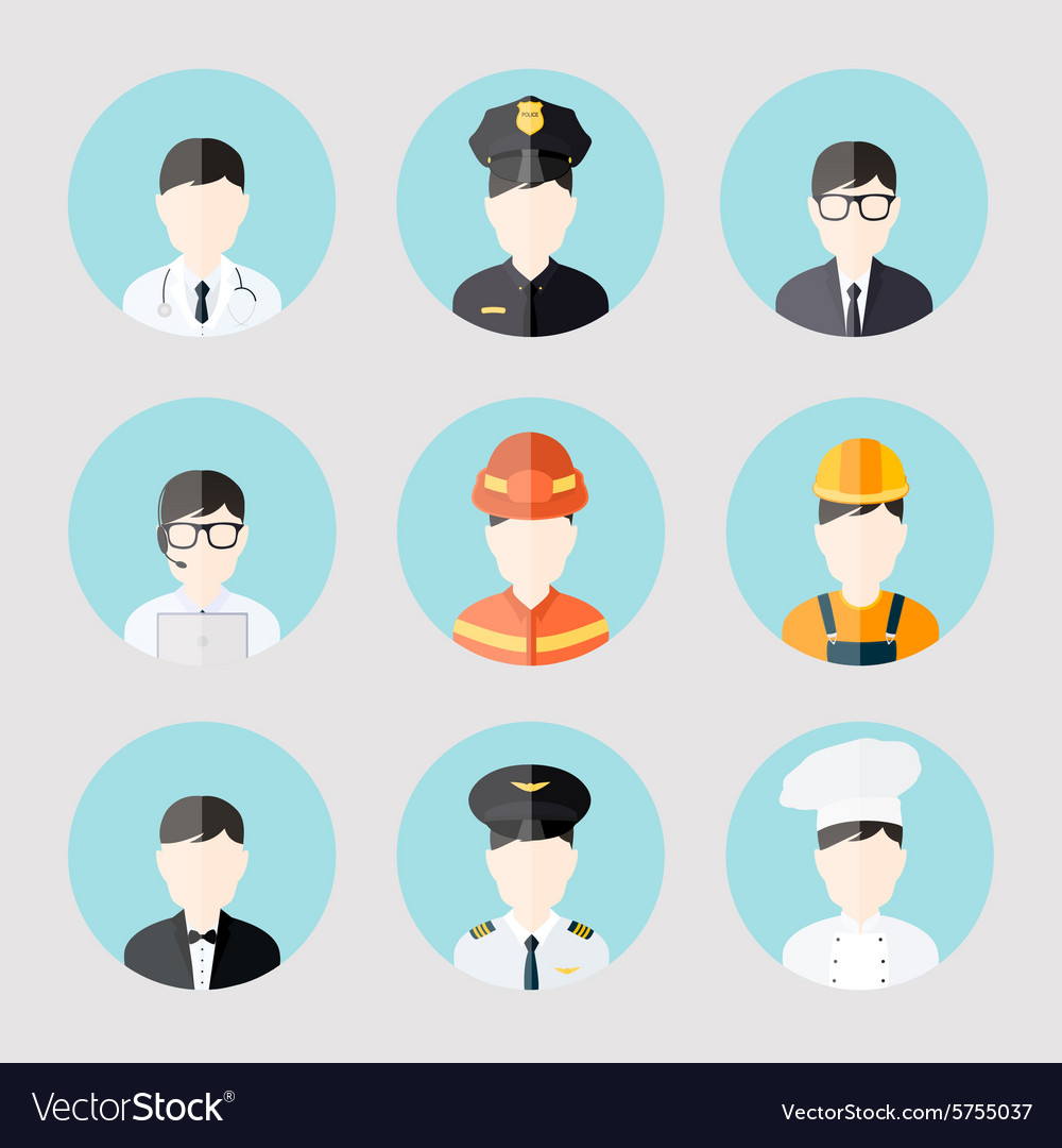 Avatar business users flat icons set of doctor