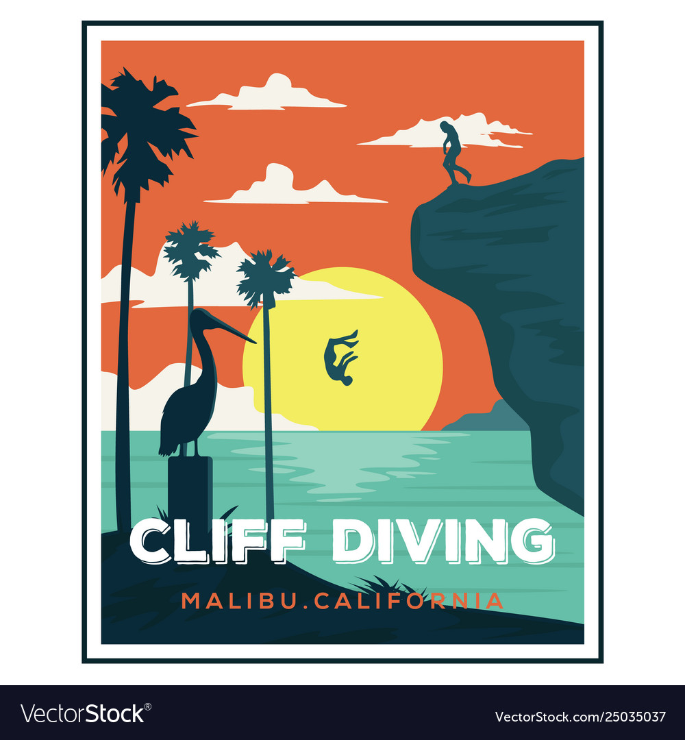 Cliff diving california beach logo designs