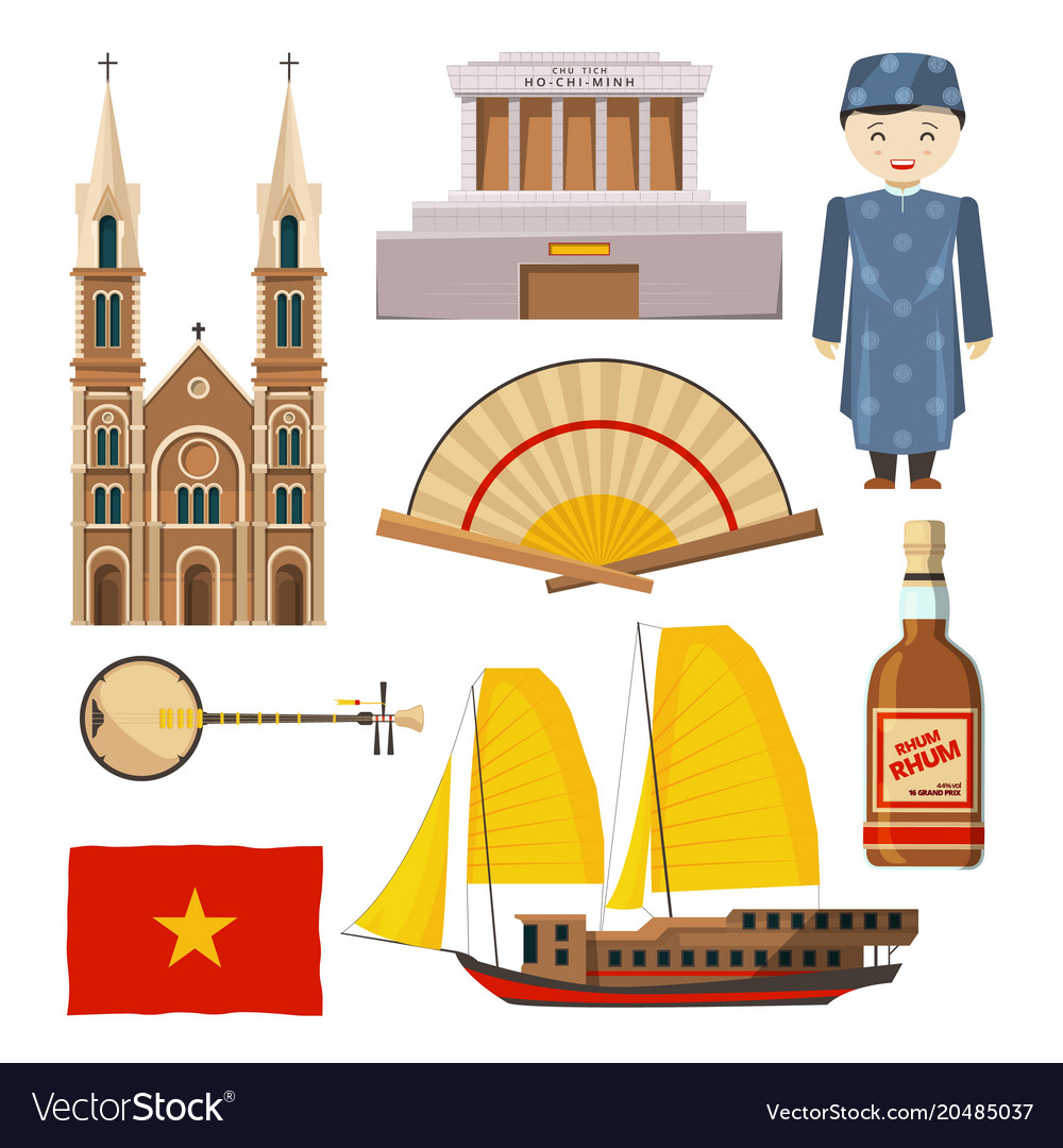 Different pictures of vietnam symbols isolate on