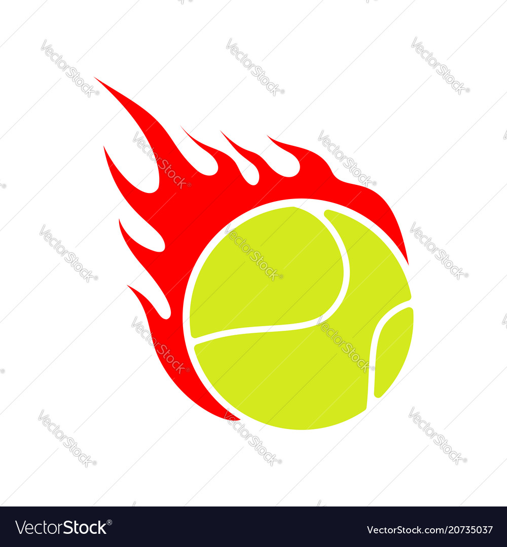 Fire tennis flame ball emblem game sport team