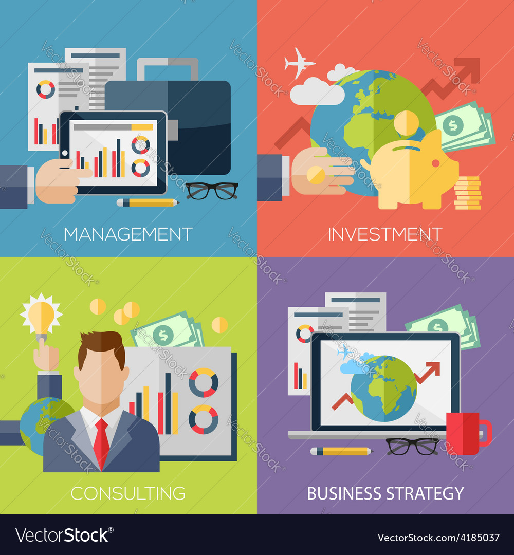 Flat design concepts for business strategy