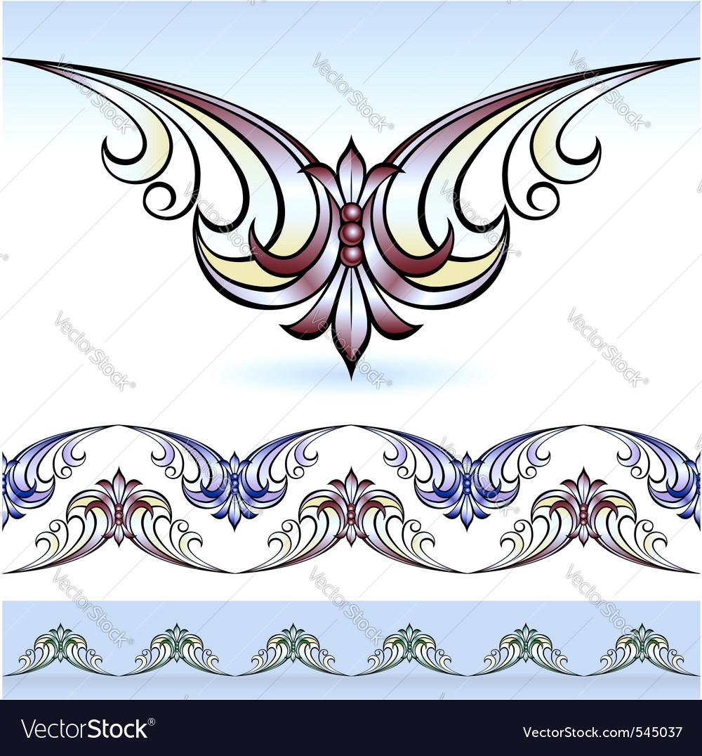 Desain Batik Vectorstock Flora Design Elements Vector