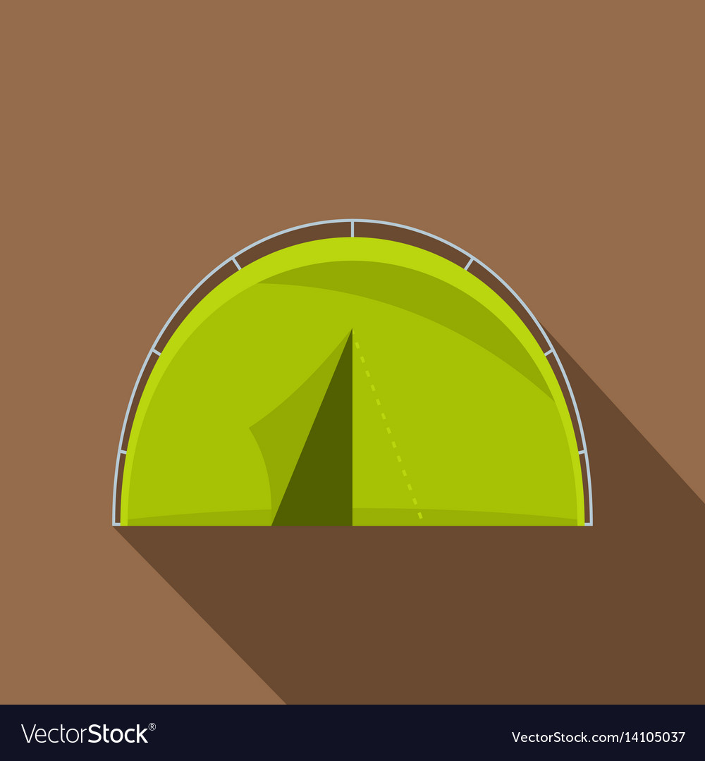 Green touristic camping tent icon flat style vector image