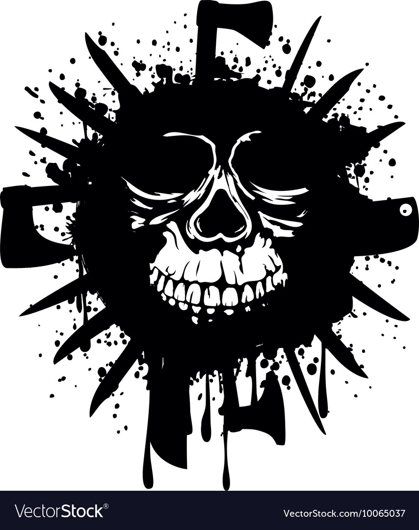 Grunge white skull in frame with axe and knifes Vector Image