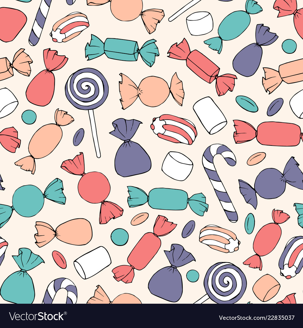 Hand drawn candies canes and marshmallows pattern
