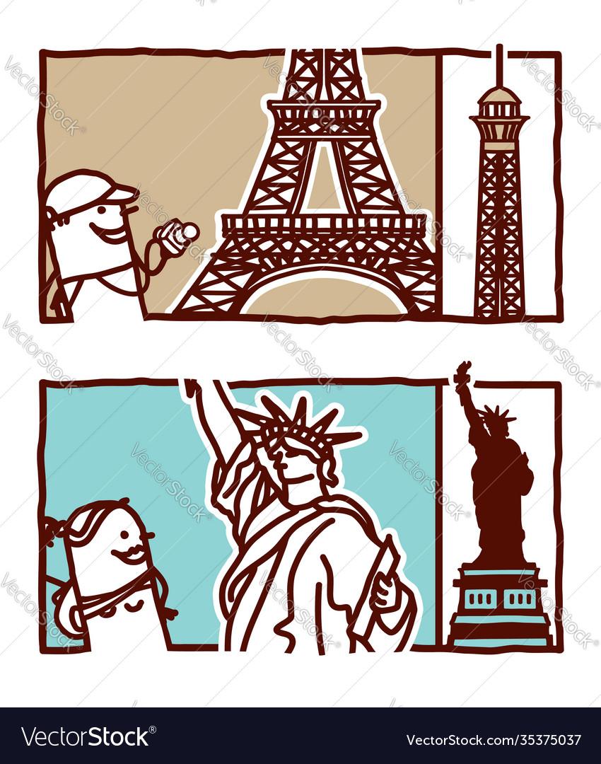 Hand drawn cartoon characters - eiffel tower
