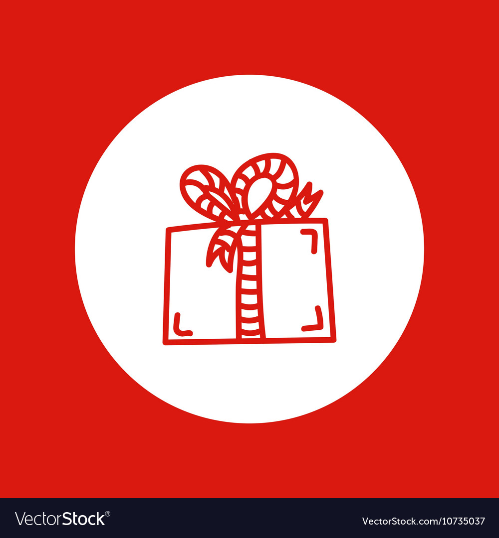 Hand drawn Christmas icon red line isolated in