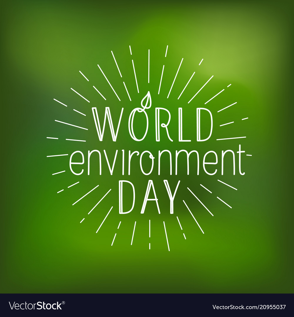 Happy world environment day card logo on blured