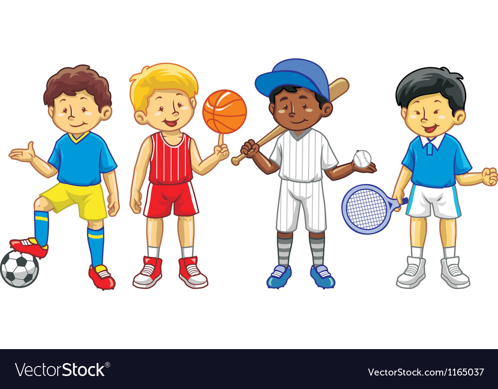 Kids Sports Cartoon: Kids In Various Sport Activity Royalty Free Vector Image