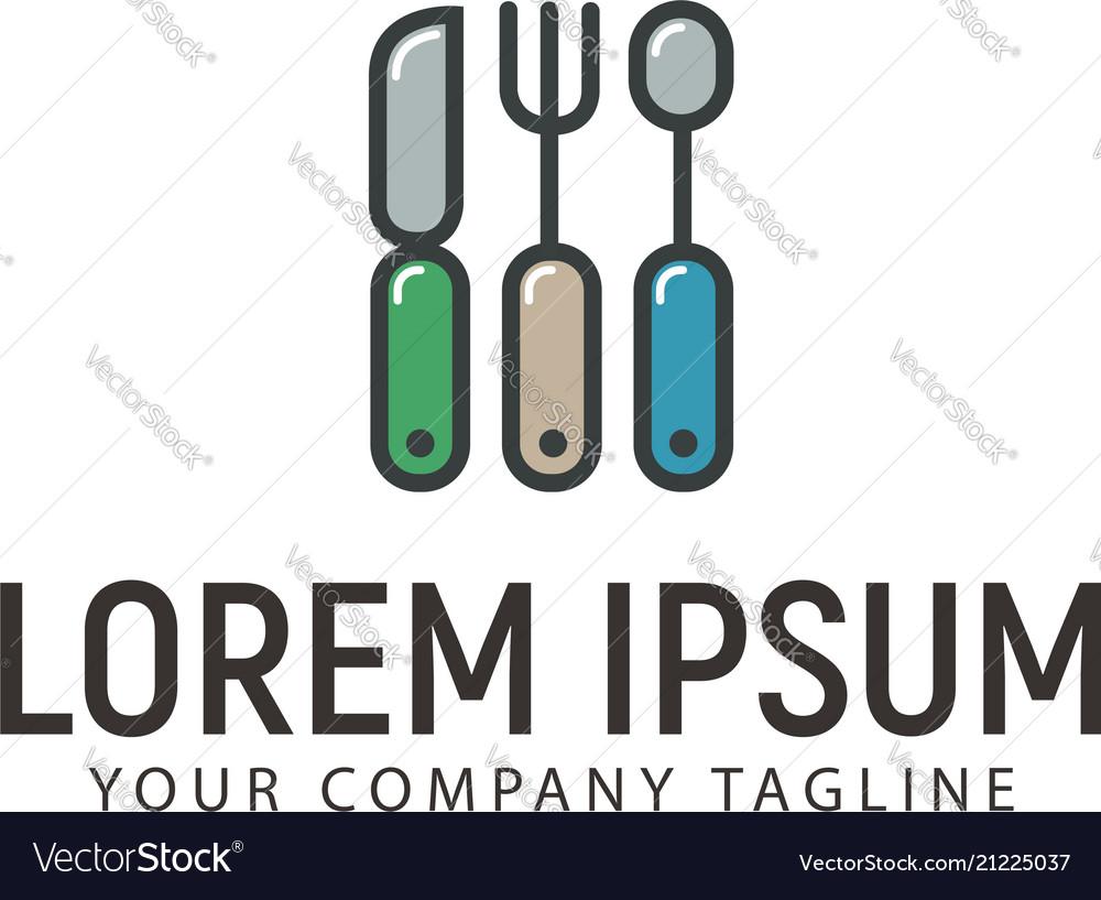 Knife spoon fork logo design concept template