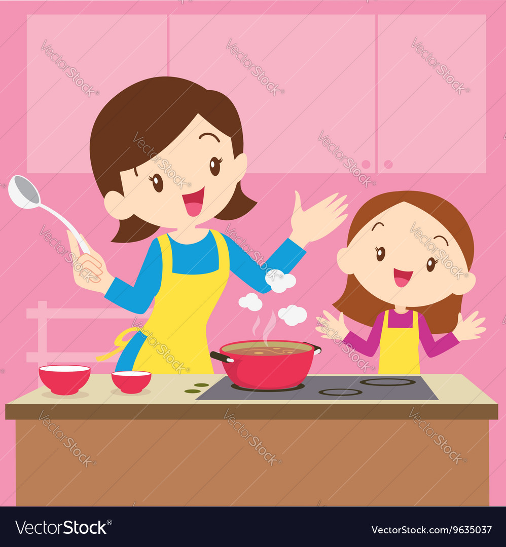 Mom And Daughter Cooking Royalty Free Vector Image