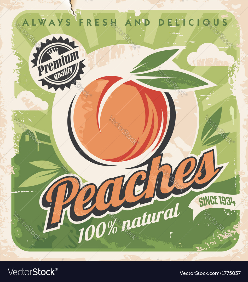 Peaches vintage poster template