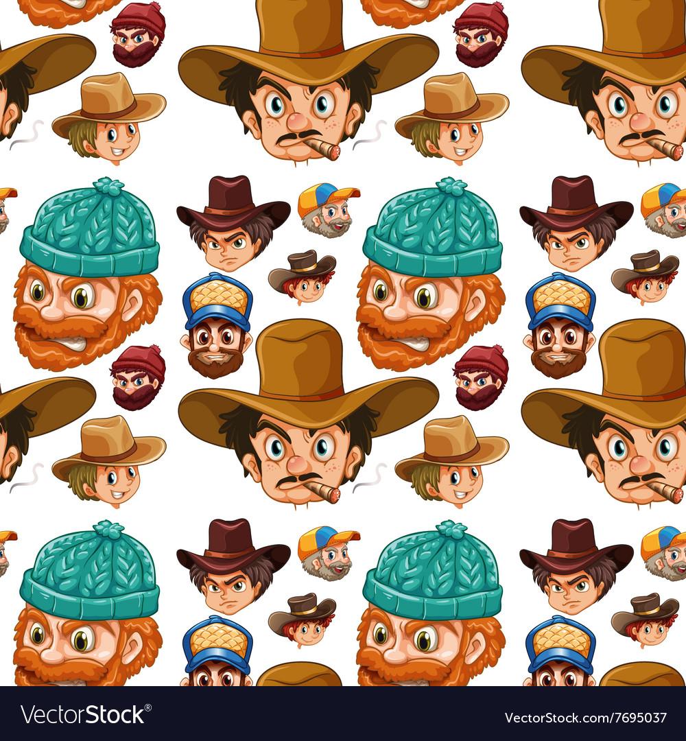 Seamless head of cowboys and lumberjacks