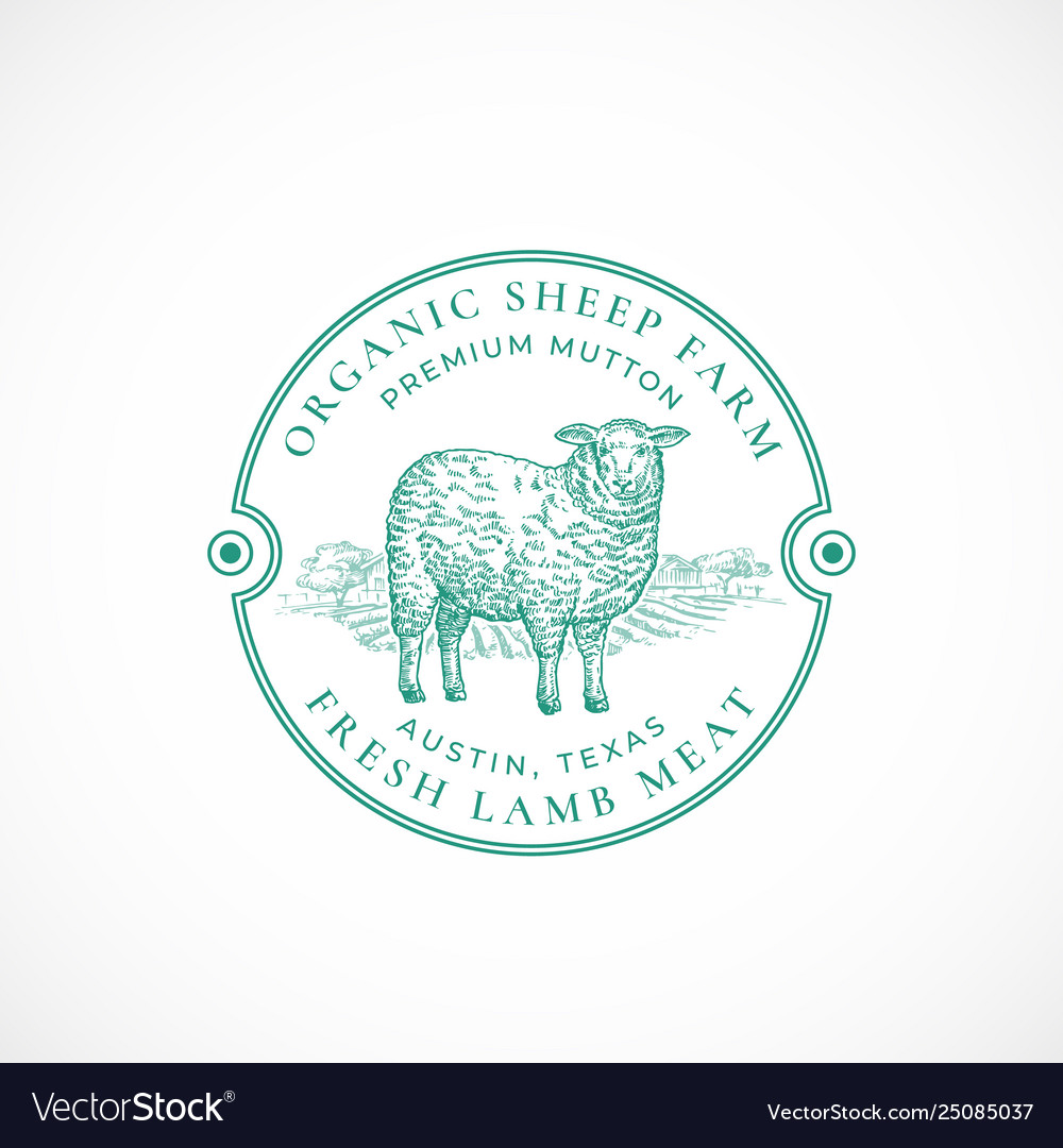 Sheep farm framed retro badge or logo template