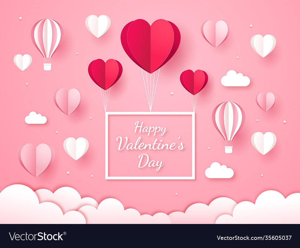Valentines day card paper cut style background
