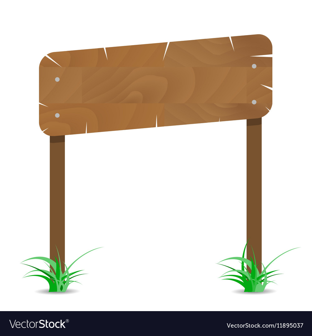 Wooden signboard on post with grass vector image