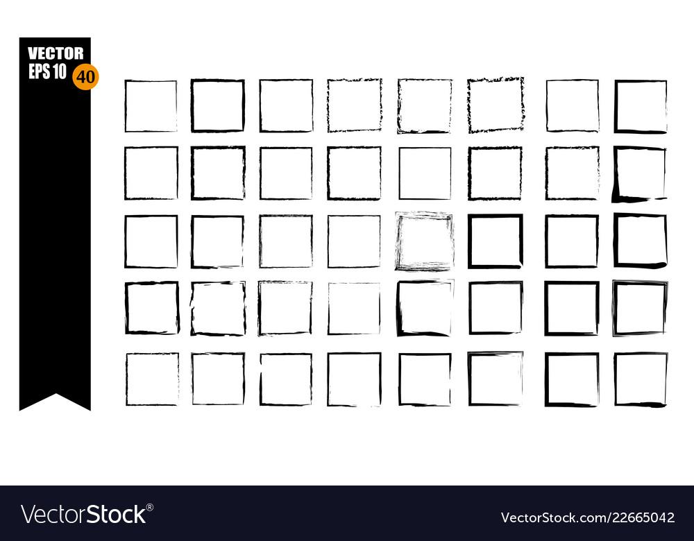 A set of frames black squares textural lines