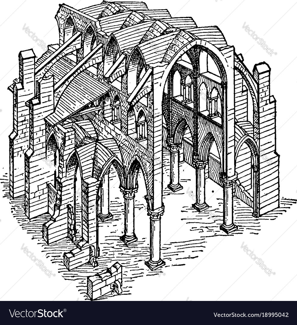 Constructive System Of A Gothic Church The Vector Image