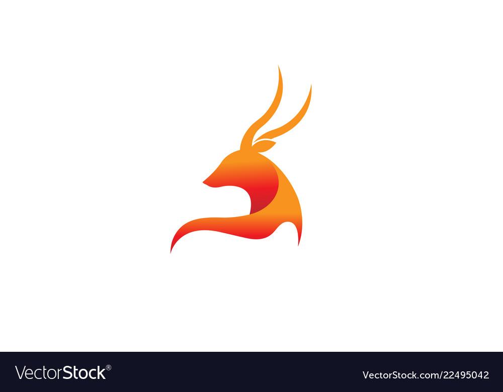 Creative orange smooth abstract deer logo