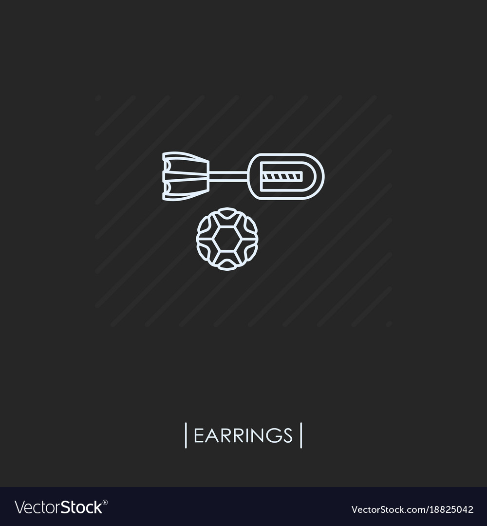 Earring outline icon isolated vector image