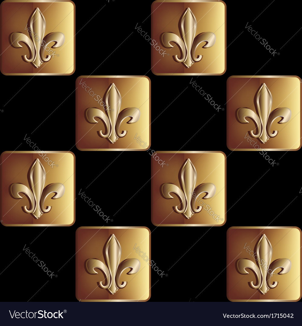 Gold seamless pattern the royal lily vector image