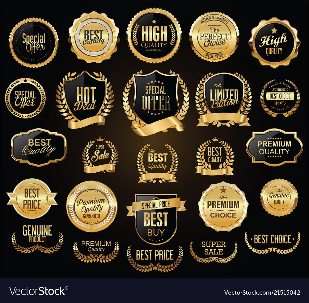 Golden shields laurel wreaths and badges