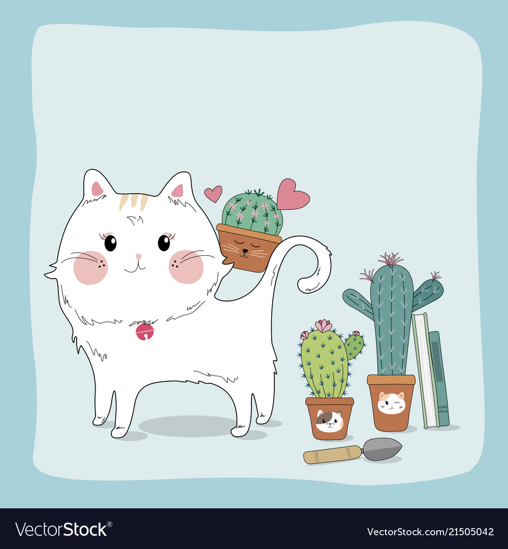 Hand drawn sketch cute cat and cactus