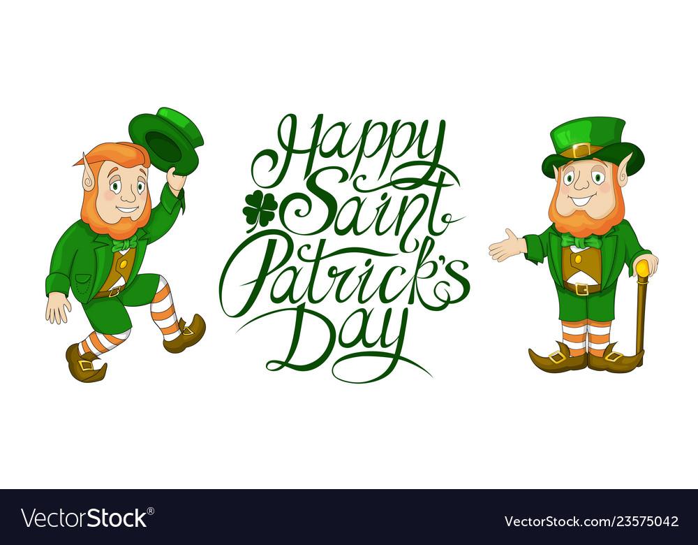 Happy St Patricks Day Celebration Card Elements Vector Image