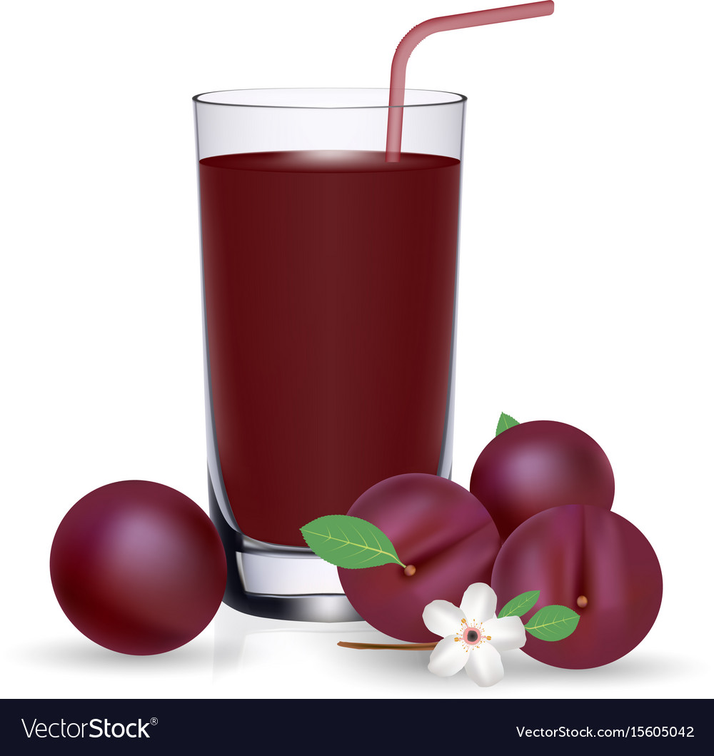 Set of plum juice and fresh ripe fruits isolated