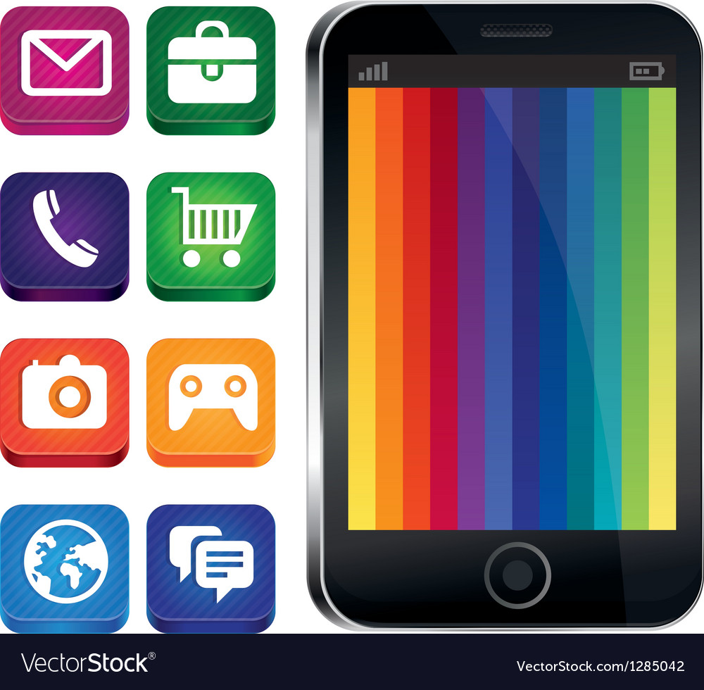 Touchscreen phone with rainbow wallpaper