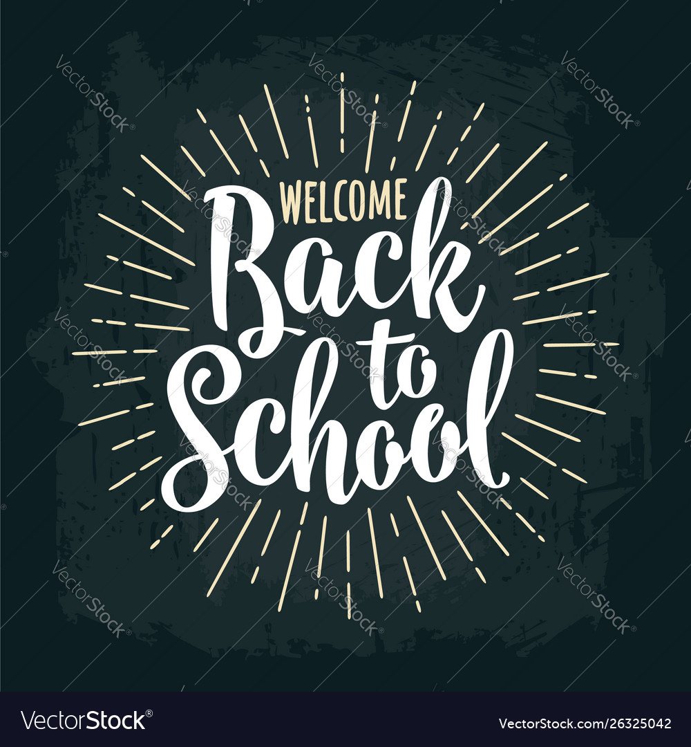 Welcome back to school lettering with rays