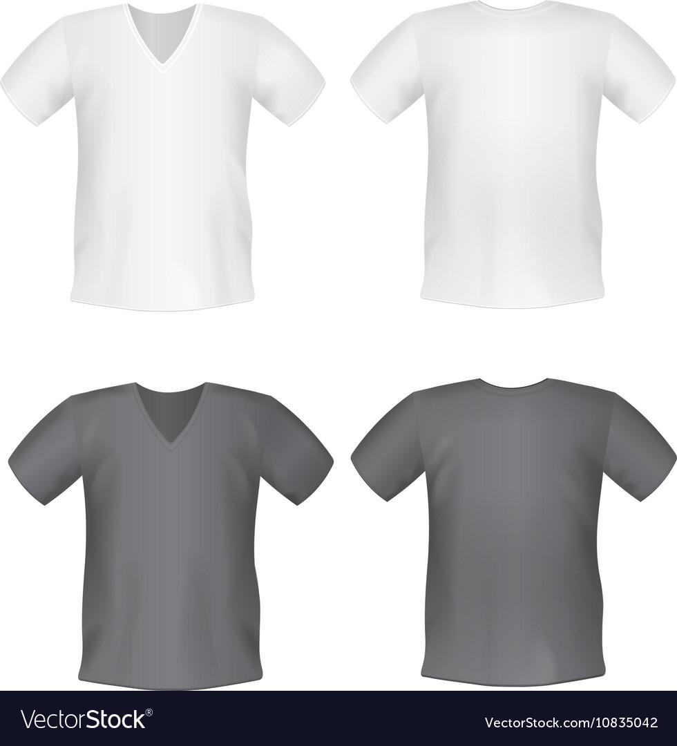 57271a961 White black mens t-shirt short front back views Vector Image