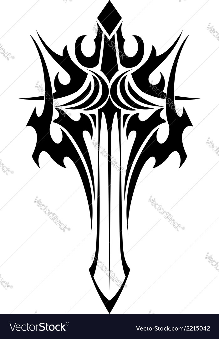 winged sword tattoo in tribal style royalty free vector rh vectorstock com Sword and Shield Tattoo Skull and Sword Tattoo