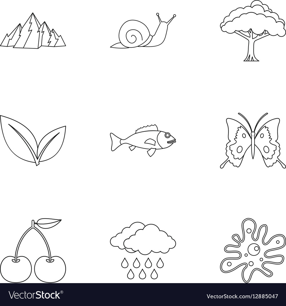 Beautiful nature icons set outline style