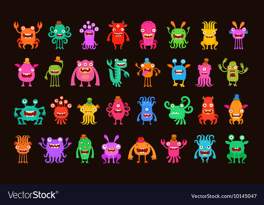 Big collection of cartoon funny monsters