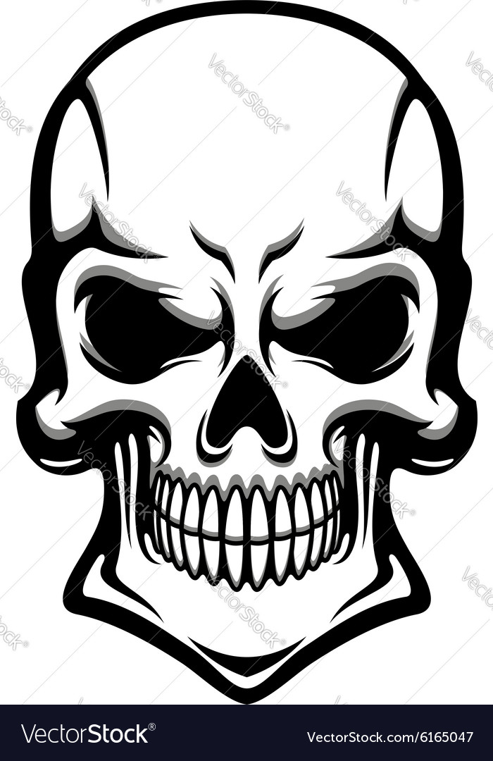 Danger human skull with eerie grin