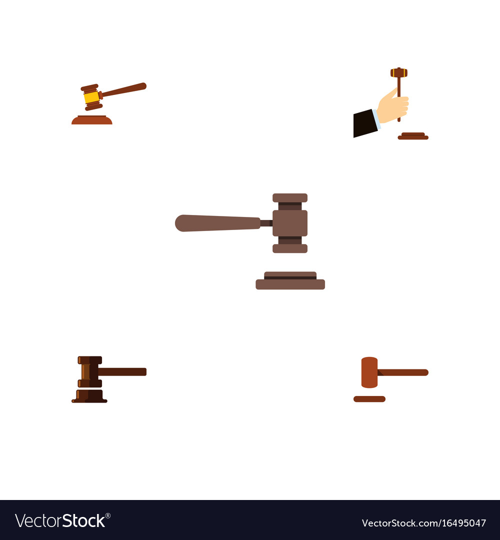 Flat icon hammer set of hammer legal law and