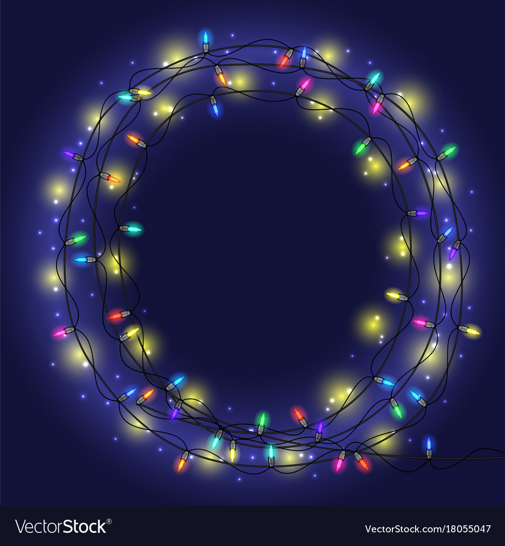 Garland frame with colorful lights