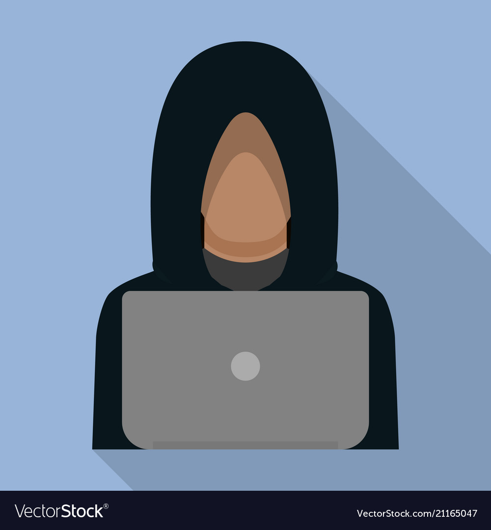 Hacker man on laptop icon flat style