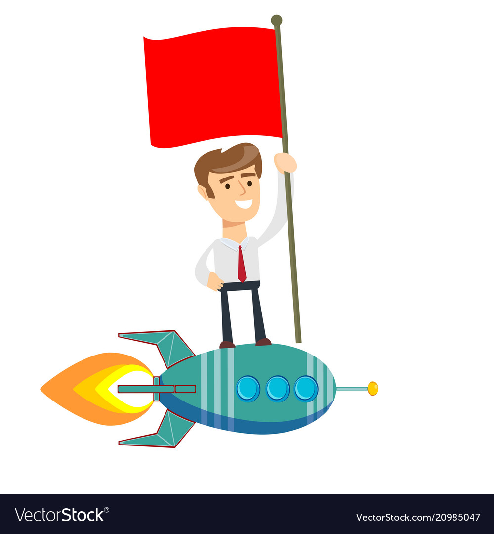 Happy businessman holding flag and standing on