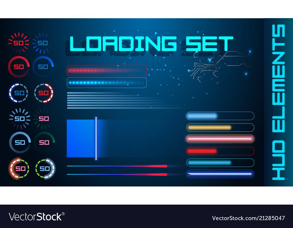 Hud futuristic element loading bars set