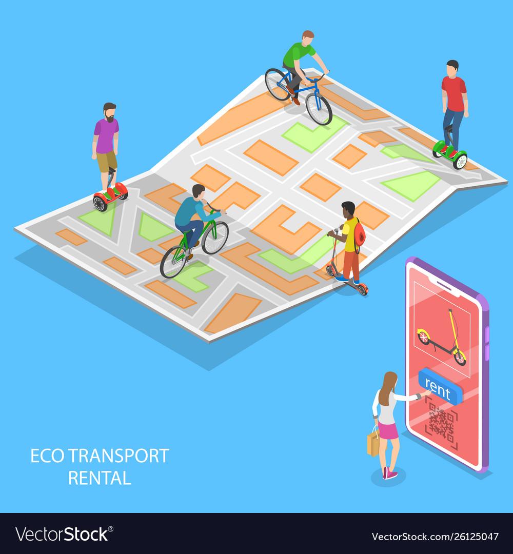 Isometric flat concept city eco