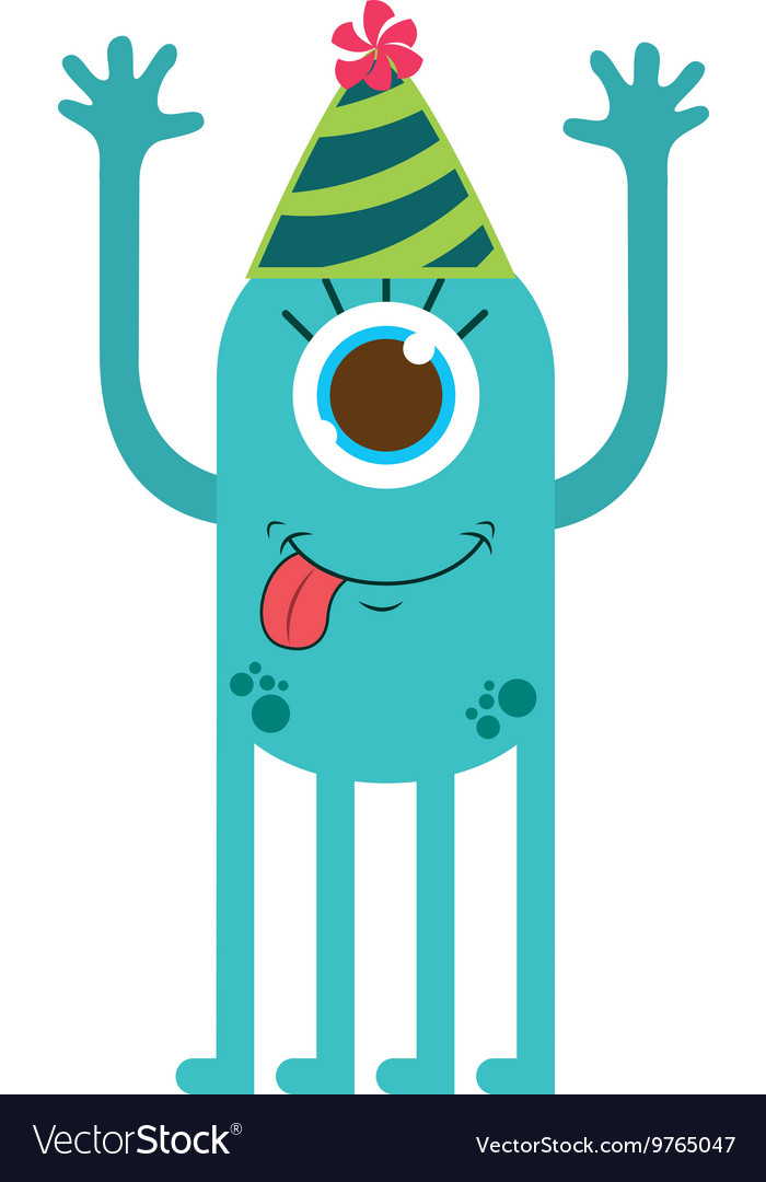 Monster cartoon with party hat isolated icon