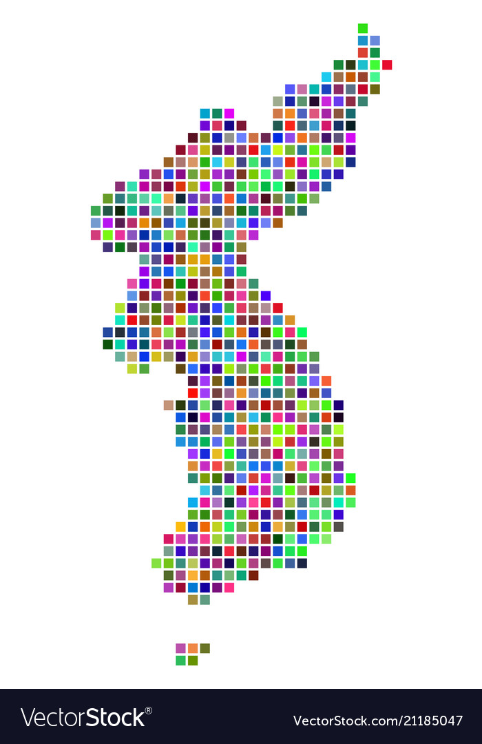 Multicolored Dot North And South Korea Map Vector Image